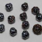 Vintage Set of 12 Metallic Black Glass Bead Findings