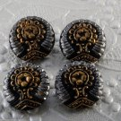 Set of 4 Czech? Glass Sewing Buttons Decorative Black Gold Silver Relief Design