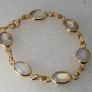 Vintage Gold PLated Milky White Glass Connector Ladies Bracelet Jewelry