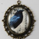 Victorian Style Brass Pendant Nevermore Poe Glass Dome Cabochon  Jewelry