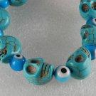Blue Turquoise Color Howlite Stone Skull Eyeball Adjustable Bracelet