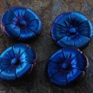 Set of 4 Czech? Glass Flower Sewing Buttons Stunning Blue Glass 3D 21mm