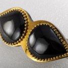 Vintage Hair Barrette Plastic Metal Black on Gold Beaded Edge Accessorie