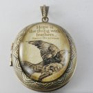 Victorian Style Raw Brass Perfume Locket Emily Dickinson Glass Dome Cabochon