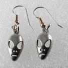 Vintage Silver Metal Alien Earrings Pair Extraterrestrial Head Jewelry