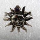 Vintage Ring Sun Heliotrope Ball Silver Metal Delicate Adjustable 6 Start