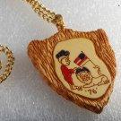 Vintage 1970's Ronny Patriotic USA Necklace Jewelry Lion Flag