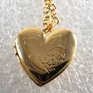Vintage Gold Tone Heart Locket Necklace Jewelry Flower Etched