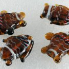 Vintage Set of 4 Tortoise WHite Striped Fish Glass Bead Findings Drilled Through