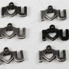 Vintage Lot 6 Silver I Heart U Tiny Pendant Findings  Jewelry Making
