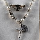 Vintage Crucifix Beaded Bracelet Chalice Ring Religious Silver Metal Jewelry