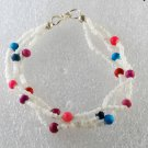 "Vintage White Colorful Seed Bead Bracelet 8"" 3 Strand Silver Metal Jewelry"