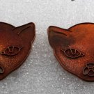 Vintage Pair Cat Face Stampings Brass/Copper 38mm Glueing Jewelry Making