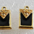 Vintage Gold PLated Enamel Rhinestone Purse Wallet Pendant Pair Jewelry Making