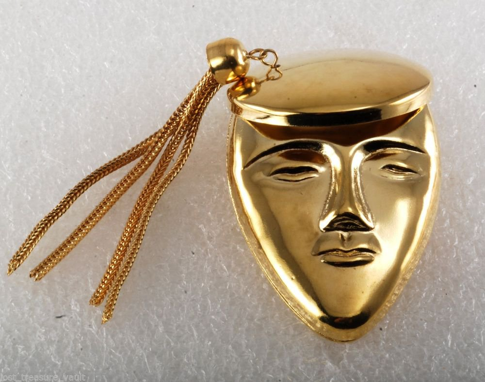 Vintage Pin Brooch Face Hat Tassel Woman  Gold Plated Accessorie
