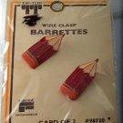 Vintage Tip Top Hair Barrette Enamel Pencil Pair Faberge Wire Back Red NOC