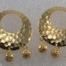 Vintage Pair Hammered Metal Filigree Ball Pendants