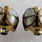 Vintage Gold Plated Metal Abalone Inlay Bead Finding Pair Jewelry Making
