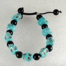 Blue Turquoise Color Howlite Stone Skull Adjustable Bracelet