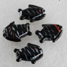 Vintage Set of 4 Black WHite Striped Fish Glass Bead Findings Drilled Through