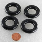 Vintage Set of 4 PLastic Doughnut  Findings Black Jewelry Dress Making