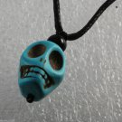 Dyed Howlite Stone Blue Skull Adjustable Black Cord  Necklace Jewelry 3D