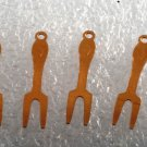 Vintage Set of 4 Serving Fork Copper STamping Pendant  Jewelry Making
