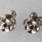 Vintage Flower Earring Pair Silver Metal Red Rhinestone Center Screw Back