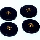 Vintage Black Gold Button Bead Finding Set of 4 Sewing