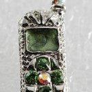 Green SIlver Cell Phone Magnet Silver Metal Green Enamel Rhinestones Accessorie