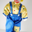 "Vintage Circus Clown 12"" Doll Porcelain Padded Body Hand Painted Ripped Shoes"