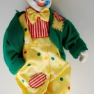 "Vintage Circus Clown 12"" Doll Porcelain Padded Body Hand Painted Flower Heart"