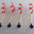 Vintage Metal Findings Lot of 4 Gold Pink Purple Metal Jewelry Making  Sew On