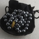"""Vintage Strand Hematite Glass Pearl Necklace Jewelry Hook Clasp 18"""""""