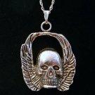 Silver Tone Skull Pendant Necklace in Gift Box