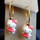 Handmade Dark Rose Dress HELLO KITTY Gold Tone Hoop Earrings