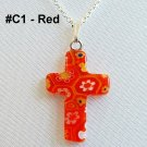 Millefiori Cross Sterling Silver Necklace - Red