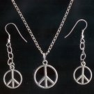 Silver Tone Peace Pendant Necklace & Earrings Set