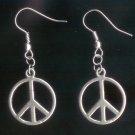 """Silver Tone 3/4"""" Peace Earrings"""