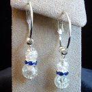 Silver Tone Hoop Crackle Glass Earrings in Gift Box