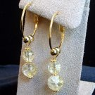 Gold Tone Hoop Crackle Glass Earrings in Gift Box