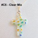 Millefiori Cross Sterling Silver Necklace - Clear Mix Color