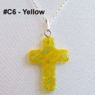 Millefiori Cross Sterling Silver Necklace - Yellow