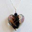 Sterling Silver Lampwork Glass Necklace - Black with Jet Crystal