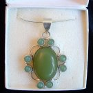 """GREEN CHALCEDONY 925 SILVER PENDANT 24"""" NECKLACE IN BOX"""