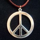Silver Plated Large PEACE Sign Pendant with Necklace Cord