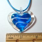 Heart Lampwork Glass Pendant - Blue stripe