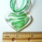Heart Lampwork Glass Pendant Necklace - Light Green Stripe