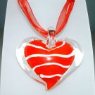 Heart Lampwork Glass Pendant Necklace - Red Stripe