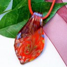 Red Teardrop Lampwork Glass Pendant Necklace